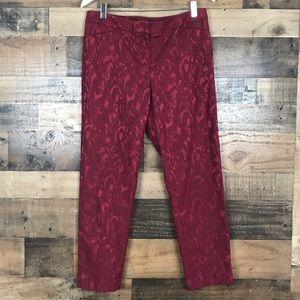 WHBM Red texturized The Slim Ankle Pants size 8